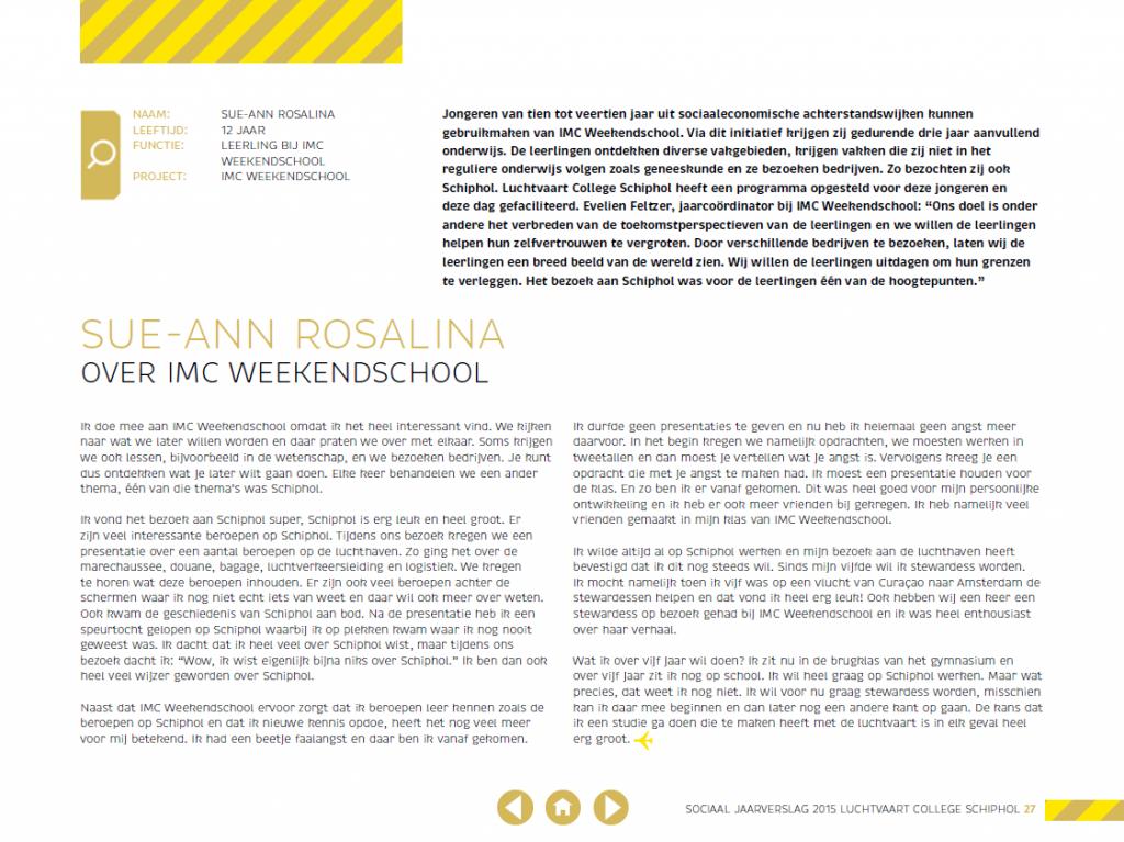 Sue-Ann Rosalina in Schiphol jaarverslag