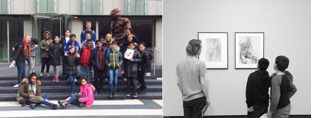 Samen met kunstenaar Maarten Bel namen de leerlingen een kijkje bij de expositie 'Gek op Surrealisme' in het museum Boijmans van Beuningen.